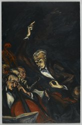 Mervin Jules (American, 1912-1994). <em>The Conductor</em>, ca. 1940. Oil on composition board, 34 x 22 in. (86.4 x 55.9 cm). Brooklyn Museum, Gift of Roy R. Neuberger, 45.132. © artist or artist's estate (Photo: Brooklyn Museum, 45.132_PS2.jpg)