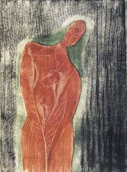 Ian Hugo (American, 1898-1985). <em>Tree Woman</em>, June 1945. Wood engraving in color, Sheet: 9 x 7 in. (22.9 x 17.8 cm). Brooklyn Museum, Gift of W. S. Heiman