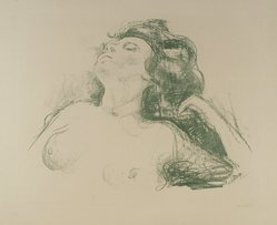 Edvard Munch (Norwegian, 1863-1944). <em>Reclining Half Nude II (Liegender Halbakt II)</em>, 1920. Lithograph on paper, Image: 17 1/8 x 22 1/16 in. (43.5 x 56 cm). Brooklyn Museum, Carll H. de Silver Fund, 46.129. © artist or artist's estate (Photo: Brooklyn Museum, 46.129.jpg)