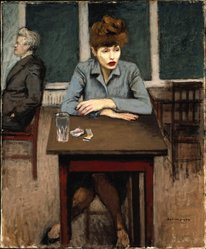 Raphael Soyer (American, born Russia, 1899-1987). <em>Cafe Scene</em>, ca. 1940. Oil on canvas, 24 x 20in. (61 x 50.8cm). Brooklyn Museum, Gift of James N. Rosenberg, 46.15. © artist or artist's estate (Photo: Brooklyn Museum, 46.15_SL1.jpg)