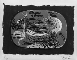 Georges Braque (French, 1882-1963). <em>Phaeton (Chariot I) (Phaeton [Char I])</em>, 1945. Color lithograph on wove Arches paper, Image: 12 x 17 1/8 in. (30.5 x 43.5 cm). Brooklyn Museum, Museum Collection Fund, 46.171. © artist or artist's estate (Photo: Brooklyn Museum, 46.171_bw.jpg)