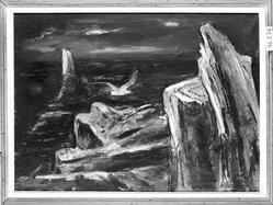 Ferdinand Earl Warren (American, 1899-1981). <em>The Albatross</em>. Oil on canvas, frame: 30 x 30 1/2 in. (76.2 x 77.5 cm). Brooklyn Museum, Gift of John Wells James, 46.176. © artist or artist's estate (Photo: Brooklyn Museum, 46.176_framed_bw.jpg)