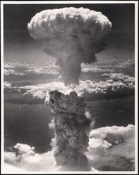 American. <em>Nagasaki, Japan, under Atomic Bomb Attack</em>, August 9, 1945. Vintage gelatin silver photograph, 10 x 13 1/2 in.  (25.4 x 34.3 cm). Brooklyn Museum, Gift of the Army Air Forces, 46.17. © artist or artist's estate (Photo: Brooklyn Museum, 46.17_SL1.jpg)