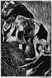 Antonio Frasconi (American, born Argentina, 1919-2013). <em>Harvesters</em>, 1945. Woodcut on wove paper, Sheet: 16 1/16 x 11 3/4 in. (40.8 x 29.8 cm). Brooklyn Museum, A. Augustus Healy Fund, 46.65.1. © artist or artist's estate (Photo: Brooklyn Museum, 46.65.1_acetate_bw.jpg)