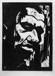 Antonio Frasconi (American, born Argentina, 1919-2013). <em>Negro Head</em>, 1944. Woodcut on wove paper, Image: 13 3/16 x 9 15/16 in. (33.5 x 25.2 cm). Brooklyn Museum, A. Augustus Healy Fund, 46.65.2. © artist or artist's estate (Photo: Brooklyn Museum, 46.65.2_acetate_bw.jpg)