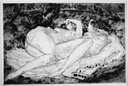 André Dunoyer de Segonzac (French, 1884-1974). <em>Les Deux Soeurs</em>, 1921. Etching on wove paper, 4 5/16 x 6 7/16 in. (11 x 16.4 cm). Brooklyn Museum, A. Augustus Healy Fund and Dick S. Ramsay Fund, 46.68. © artist or artist's estate (Photo: Brooklyn Museum, 46.68_acetate_bw.jpg)