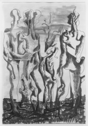 Ossip Zadkine (French, born Russia, 1890-1967). <em>Human Forest (Forêt humaine)</em>, 1946. Watercolor on paper, Sheet: 25 x 17 1/4 in. (63.5 x 43.8 cm). Brooklyn Museum, Museum Collection Fund, 47.111. © artist or artist's estate (Photo: Brooklyn Museum, 47.111_bw_SL1.jpg)