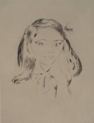 Edvard Munch (Norwegian, 1863-1944). <em>Portrait of a Girl (Daughter of Bruno Cassirer) (Mädchenbildnis [Tochter Br. C.])</em>, 1906. Drypoint on thick wove paper, Image (Plate): 15 x 11 1/8 in. (38.1 x 28.3 cm). Brooklyn Museum, Gift of John B. Turner, 47.137.5. © artist or artist's estate (Photo: Brooklyn Museum, 47.137.5.jpg)