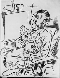 George Grosz (American, born Germany, 1893-1959). <em>Self-Portrait with Dog in Front of the Easel (Selbstbildnis mit Hund vor der Staffelei)</em>, 1926. Lithograph on laid paper, Image: 16 1/16 x 12 in. (40.8 x 30.5 cm). Brooklyn Museum, Dick S. Ramsay Fund, 47.187.1. © artist or artist's estate (Photo: Brooklyn Museum, 47.187.1_bw_IMLS.jpg)