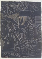 Pablo Picasso (Spanish, 1881-1973). <em>David and Bathsheba</em>, 1947. Lithograph on heavy wove paper, 25 3/8 x 18 7/8 in. (64.5 x 48 cm). Brooklyn Museum, Frank L. Babbott Fund, 47.187.3. © artist or artist's estate (Photo: Brooklyn Museum, 47.187.3_transpc002.jpg)