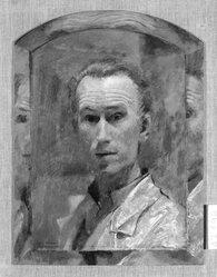 Jan Hoowij (American, born Holland, 1907-1987). <em>Self Portrait</em>, 1946. Oil on Masonite, 16 x 12 in. (40.6 x 30.5 cm). Brooklyn Museum, Anonymous gift, 47.198. © artist or artist's estate (Photo: Brooklyn Museum, 47.198_bw.jpg)