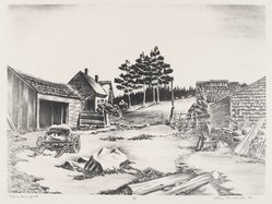 John Muench (American, 1914-1993). <em>Maine Backyard</em>, 1947. Lithograph on paper, image: 8 7/16 x 11 9/16 in. (21.5 x 29.3 cm). Brooklyn Museum, Dick S. Ramsay Fund, 47.54. © artist or artist's estate (Photo: Brooklyn Museum, 47.54_PS4.jpg)