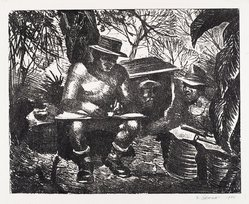 Joseph P. DiGemma (American, born 1910). <em>In the Burma Jungles</em>, 1946. Etching on wove paper, Plate: 79 15/16 x 99 5/8 in. (203 x 253 cm). Brooklyn Museum, Dick S. Ramsay Fund, 47.57. © artist or artist's estate (Photo: Brooklyn Museum, 47.57_PS4.jpg)