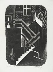 Harry Brodsky (American, 1908-1997). <em>Backyard Impressions</em>, 1946. Lithograph on paper, 13 3/8 x 9 1/8 in. (34 x 23.2 cm). Brooklyn Museum, Dick S. Ramsay Fund, 47.61. © artist or artist's estate (Photo: Brooklyn Museum, 47.61_PS2.jpg)