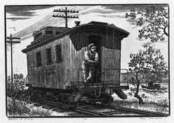 Leo J. Meissner (American, 1895-1977). <em>Breath of Spring</em>, 1947. Woodcut engraving on paper, image: 6 3/8 x 9 5/16 in. (16.2 x 23.7 cm). Brooklyn Museum, Dick S. Ramsay Fund, 47.65. © artist or artist's estate (Photo: Brooklyn Museum, 47.65_acetate_bw.jpg)