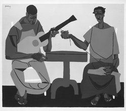 Robert Gwathmey (American, 1903-1988). <em>Singing and Mending</em>, 1946. Serigraph on wove paper, Sheet: 15 3/16 x 18 5/8 in. (38.6 x 47.3 cm). Brooklyn Museum, Gift of Samuel Golden, 47.94.12. © artist or artist's estate (Photo: Brooklyn Museum, 47.94.12_bw.jpg)