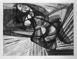 Stanley William Hayter (British, 1901-1988). <em>Unstable Woman</em>, 1947. Engraving, soft-ground etching on heavy Japan paper, 14 7/8 x 19 1/2 in. (37.8 x 49.5 cm). Brooklyn Museum, Gift of Samuel Golden, 47.94.8. © artist or artist's estate (Photo: Brooklyn Museum, 47.94.8_bw.jpg)