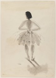 Susanne Suba (American, born Hungary, 1913-2012). <em>Ballet Dancer</em>, 20th century. Pen and ink and wash on paper, sheet: 18 15/16 x 13 5/8 in. (48.1 x 34.6 cm). Brooklyn Museum, Dick S. Ramsay Fund, 48.100.1. © artist or artist's estate (Photo: Brooklyn Museum, 48.100.1_IMLS_PS3.jpg)