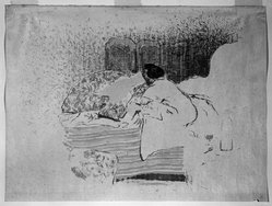 Édouard Vuillard (French, 1868-1940). <em>La Jeune Mere, The Birth of Annette</em>, ca. 1899. Lithograph on loose China paper, Image: 16 x 19 7/8 in. (40.6 x 50.5 cm). Brooklyn Museum, A. Augustus Healy Fund, 48.101.4. © artist or artist's estate (Photo: Brooklyn Museum, 48.101.4_bw_IMLS.jpg)