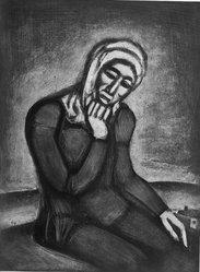 Georges Rouault (French, 1871-1958). <em>Woman Seated with Chin in Hand</em>, 1917. Etching, aquatint on wove paper, 23 x 17 5/16 in. (58.4 x 44 cm). Brooklyn Museum, A. Augustus Healy Fund, 48.136.2. © artist or artist's estate (Photo: Brooklyn Museum, 48.136.2_acetate_bw.jpg)
