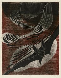 Sue Fuller (American, 1914-2006). <em>Bat</em>, 1946. Engraving, soft-ground etching in color on wove paper, Plate: 14 x 11 in. (35.5 x 28 cm). Brooklyn Museum, Dick S. Ramsay Fund, 48.165.1. © artist or artist's estate (Photo: Brooklyn Museum, 48.165.1_PS2.jpg)
