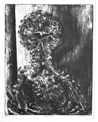 Sue Fuller (American, 1914-2006). <em>Young Bird</em>, 1946. Etching and soft ground on wove paper, Plate: 13 15/16 x 11 in. (35.4 x 27.9 cm). Brooklyn Museum, Dick S. Ramsay Fund, 48.165.3. © artist or artist's estate (Photo: Brooklyn Museum, 48.165.3_acetate_bw.jpg)