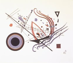 "Vasily Kandinsky (Russian, 1866-1944). <em>Lithograph ""Blue"" (Lithographie ""Blau"")</em>, 1922. Color lithograph in red, blue, and black on wove paper, Image: 8 1/4 x 6 1/8 in. (21 x 15.6 cm). Brooklyn Museum, Gift of J. B. Neumann, 48.172.2. © artist or artist's estate (Photo: Brooklyn Museum, 48.172.2_transpc001.jpg)"