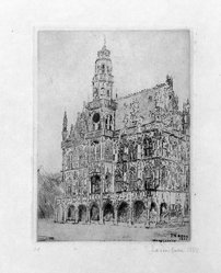 James Ensor (Belgian, 1860-1949). <em>L'Hotel de Ville d'Audenarde</em>, 1888. Etching on heavy Japan paper, 6 5/16 x 4 5/8 in. (16 x 11.8 cm). Brooklyn Museum, Caroline A.L. Pratt Fund, 48.187.1. © artist or artist's estate (Photo: Brooklyn Museum, 48.187.1_bw.jpg)