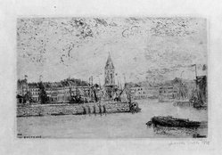 James Ensor (Belgian, 1860-1949). <em>Vue d'Ostande</em>, 1888. Etching on heavy Japan paper, 3 1/2 x 5 3/8 in. (8.9 x 13.7 cm). Brooklyn Museum, Caroline A.L. Pratt Fund, 48.187.2. © artist or artist's estate (Photo: Brooklyn Museum, 48.187.2_bw.jpg)