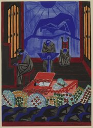 Jacob Lawrence (American, 1917-2000). <em>Funeral Sermon</em>, 1946. Watercolor and graphite with some varnish on heavy, textured wove paper, Sheet: 29 3/8 x 21 1/8 in. (74.6 x 53.7 cm). Brooklyn Museum, Anonymous gift, 48.24. © artist or artist's estate (Photo: , 48.24_PS9.jpg)