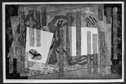 Alice Trumbull Mason (American, 1904-1971). <em>Indicative Displacement</em>, 1947. Soft-ground etching on paper, image: 10 1/4 x 15 7/8 in. (26 x 40.3 cm). Brooklyn Museum, Dick S. Ramsay Fund, 48.48. © artist or artist's estate (Photo: Brooklyn Museum, 48.48_acetate_bw.jpg)