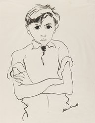 Allela Cornell (American, 1914-1946). <em>Portrait of a Young Boy</em>, n.d. Ink on thin paper, Sheet: 16 3/4 x 13 7/8 in. (42.5 x 35.2 cm). Brooklyn Museum, Dick S. Ramsay Fund, 48.70.1. © artist or artist's estate (Photo: Brooklyn Museum, 48.70.1_IMLS_PS3.jpg)