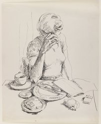 Allela Cornell (American, 1914-1946). <em>Woman Reading at the Breakfast Table</em>, n.d. Pen and ink on paper, Sheet: 16 15/16 x 13 7/8 in. (43 x 35.2 cm). Brooklyn Museum, Dick S. Ramsay Fund, 48.70.2. © artist or artist's estate (Photo: Brooklyn Museum, 48.70.2_IMLS_PS3.jpg)