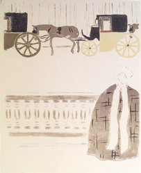 Pierre Bonnard (French, 1867-1947). <em>Nannies' Promenade, Frieze of Carriages (La Promenade des nourrices, frise de fiacres), detail of first panel</em>, 1895. Color lithograph on wove paper, Image: 24 1/4 x 18 5/8 in. (61.6 x 47.3 cm). Brooklyn Museum, Caroline A.L. Pratt Fund, 49.101.1. © artist or artist's estate (Photo: Brooklyn Museum, 49.101.1_transpc001.jpg)