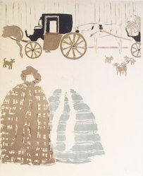 Pierre Bonnard (French, 1867-1947). <em>Nannies' Promenade, Frieze of Carriages (La Promenade des nourrices, frise de fiacres), detail of second panel</em>, 1895. Color lithograph on wove paper, Image: 23 15/16 x 18 3/16 in. (60.8 x 46.2 cm). Brooklyn Museum, Caroline A.L. Pratt Fund, 49.101.2. © artist or artist's estate (Photo: Brooklyn Museum, 49.101.2_transpc003.jpg)