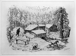 Alfred L. Kubin (Czechoslovakian, 1877-1959). <em>Winter Landscape</em>. Lithograph on fine laid paper, 8 7/8 x 12 5/8 in. (22.6 x 32 cm). Brooklyn Museum, Museum Purchase Fund and the Caroline A.L. Pratt Fund, 49.102.1. © artist or artist's estate (Photo: Brooklyn Museum, 49.102.1_bw.jpg)