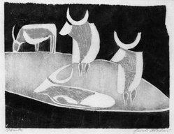 Ewald Mataré (German, 1887-1965). <em>Cattle</em>, 1928. Woodcut, touched with red pastel pencil on course Japan paper, 8 1/16 x 10 3/8 in. (20.5 x 26.4 cm). Brooklyn Museum, Caroline A.L. Pratt Fund, 49.102.2. © artist or artist's estate (Photo: Brooklyn Museum, 49.102.2_bw.jpg)