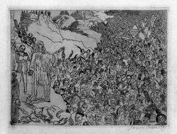 James Ensor (Belgian, 1860-1949). <em>Multiplication des Poissons</em>, 1891. Etching on wove paper, Image: 6 3/4 × 9 1/16 in. (17.1 × 23 cm). Brooklyn Museum, Museum Surplus Fund, 49.103. © artist or artist's estate (Photo: Brooklyn Museum, 49.103_bw.jpg)