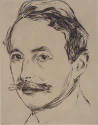 Edvard Munch (Norwegian, 1863-1944). <em>Portrait of Dr. Linde (Porträt Dr. Linde)</em>, 1902. Drypoint on Japan paper, Image (Plate): 10 11/16 in. (27.1 cm). Brooklyn Museum, Frank L. Babbott Fund, 49.193. © artist or artist's estate (Photo: Brooklyn Museum, 49.193.jpg)