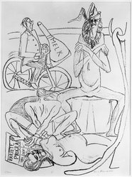 Max Beckmann (German, 1884-1950). <em>Circus (Zirkus)</em>, 1946. Lithograph on wove paper, Image: 15 9/16 x 11 1/4 in. (39.5 x 28.6 cm). Brooklyn Museum, Gift of Curt Valentin, 49.206.12. © artist or artist's estate (Photo: Brooklyn Museum, 49.206.12_bw_IMLS.jpg)