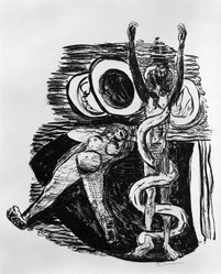 Max Beckmann (German, 1884-1950). <em>The Fall of Man (Sündenfall)</em>, 1946. Lithograph on wove paper, Image: 11 7/8 x 10 1/4 in. (30.2 x 26 cm). Brooklyn Museum, Gift of Curt Valentin, 49.206.14. © artist or artist's estate (Photo: Brooklyn Museum, 49.206.14_bw_IMLS.jpg)