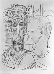 Max Beckmann (German, 1884-1950). <em>Christ and Pilate (Christus und Pilatus)</em>, 1946. Lithograph on wove paper, Image: 13 5/8 x 10 5/8 in. (34.6 x 27 cm). Brooklyn Museum, Gift of Curt Valentin, 49.206.15. © artist or artist's estate (Photo: Brooklyn Museum, 49.206.15_bw_IMLS.jpg)