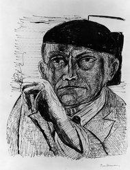 Max Beckmann (German, 1884-1950). <em>Self-Portrait (Selbstbildnis)</em>, 1946. Lithograph on wove paper, Image: 12 5/8 x 10 1/2 in. (32.1 x 26.7 cm). Brooklyn Museum, Gift of Curt Valentin, 49.206.1. © artist or artist's estate (Photo: Brooklyn Museum, 49.206.1_bw_IMLS.jpg)