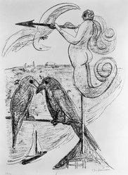 Max Beckmann (German, 1884-1950). <em>Weather Vane (Wetterfahne)</em>, 1946. Lithograph on wove paper, Image: 14 1/2 x 10 7/8 in. (36.8 x 27.6 cm). Brooklyn Museum, Gift of Curt Valentin, 49.206.2. © artist or artist's estate (Photo: Brooklyn Museum, 49.206.2_bw_IMLS.jpg)