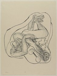 Max Beckmann (German, 1884-1950). <em>Sleeping Athlete (Schlafender Athlet)</em>, 1946. Lithograph on wove paper, Image: 11 x 10 3/8 in. (27.9 x 26.4 cm). Brooklyn Museum, Gift of Curt Valentin, 49.206.3. © artist or artist's estate (Photo: Brooklyn Museum, 49.206.3_PS9.jpg)