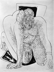 Max Beckmann (German, 1884-1950). <em>Crawling Woman (Kriechende Frau)</em>, 1946. Lithograph on wove paper, Image: 14 1/4 x 11 5/8 in. (36.2 x 29.5 cm). Brooklyn Museum, Gift of Curt Valentin, 49.206.5. © artist or artist's estate (Photo: Brooklyn Museum, 49.206.5_bw_IMLS.jpg)
