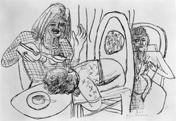 Max Beckmann (German, 1884-1950). <em>I Don't Want to Eat My Soup (Ich esse meine Suppe nicht)</em>, 1946. Lithograph on wove paper, Image: 10 3/8 x 15 3/8 in. (26.4 x 39.1 cm). Brooklyn Museum, Gift of Curt Valentin, 49.206.6. © artist or artist's estate (Photo: Brooklyn Museum, 49.206.6_bw_IMLS.jpg)