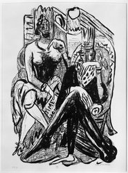 Max Beckmann (German, 1884-1950). <em>King and Demagogue (König und Demagoge)</em>, 1946. Lithograph on wove paper, Image: 14 7/8 x 10 1/4 in. (37.8 x 26 cm). Brooklyn Museum, Gift of Curt Valentin, 49.206.8. © artist or artist's estate (Photo: Brooklyn Museum, 49.206.8_bw_IMLS.jpg)