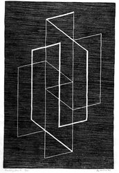 Josef Albers (American, 1888-1976). <em>Multiplex A</em>, 1947. Woodcut on wove paper, Image: 11 15/16 x 7 15/16 in. (30.3 x 20.2 cm). Brooklyn Museum, 49.69. © artist or artist's estate (Photo: Brooklyn Museum, 49.69_acetate_bw.jpg)
