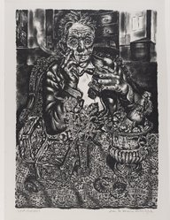 Ivan le Lorraine Albright (American, 1897-1983). <em>Self-Portrait</em>, 1948. Lithograph on paper, 14 3/8 x 10 3/16 in. (36.5 x 25.8 cm). Brooklyn Museum, 49.70. © artist or artist's estate (Photo: Brooklyn Museum, 49.70_PS4.jpg)